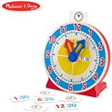 Melissa & Doug Turn & Tell Wooden Clock - Educational Toy with 12+ Reversible Time Cards