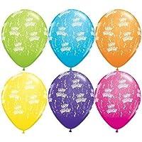 Qualatex birthday-a-round 5インチラテックスバルーン(トロピカルAssorted、100パック)