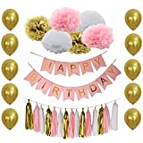 B&D Party Pink and Gold Birthday Party Decorations with Happy Birthday Banner Tissue Pom Poms Tassel Garland Balloons Girls Boys 20th 30th 40th 50th 60th (Pink)