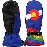 スキーグローブ 登山 手袋 メンズスキーグローブファッションプリント防水防風ノンスリップスノースケートスキーグローブ冬の暖かいミトン手袋