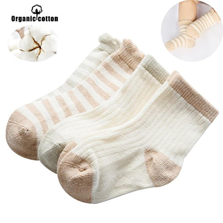 ベビー ソックス 新生児 靴下 オーガニックコットン 通気性 柔らかい 8-10cm (4足セット)