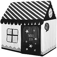 PlayMaty 黒と白 折りたたみ式 キッズテントおもちゃハウス 部屋 屋内 プレゼント子供用テント テント 玩具収納 秘密基地 おままごと 隠れん坊ゲーム 遊び小屋 テント
