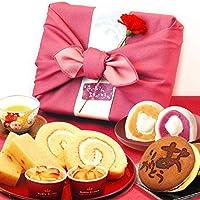 母の日 プレゼント 人気スイーツギフトセット 竹籠入り風呂敷包 (ピンク色風呂敷)