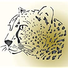 Cheetah Head Stencil - 42 x 34cm (L) - Reusable African Big Cat Animal Wildlife Stencils for Painting - Use on Paper Projects Scrapbook Journal Walls Floors Fabric Furniture Glass Wood etc.