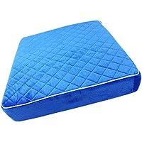 Thinple 腰に優しい 車椅子 クッション 洗える カバー 滑り止め 座布団 腰痛 床ずれ 防止 快適 ベロア調 介護 高反発 ブルー