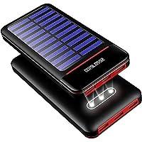 ソーラーチャージャー モバイルバッテリーRLERON 25000mAh 大容量 携帯用充電器 急速充電人気 powerbank 2USB入力ポート(2.4A+2.4A) 3USB出力ポート(2.4A+2.4A+2.4A)LCD残量表示防水・防塵・耐衝撃 旅行、ハイキング、アウトドア/キャンプ / 地震/災害時/防災に大活躍 LED電灯・ライター機能付き 飛行機 Android/micro/type-c