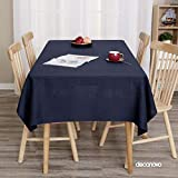 Deconovo Decorative Tablecloth for Rectangle Tables 54x120 Inch Linen Look Water Resistant Tablecloth Navy Blue