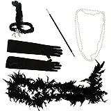 Kesoto フェザーヘッドバンド ネックレス タバコホルダー ボアスカーフ 手袋 ファンシードレスセット 全3色 - ブラック