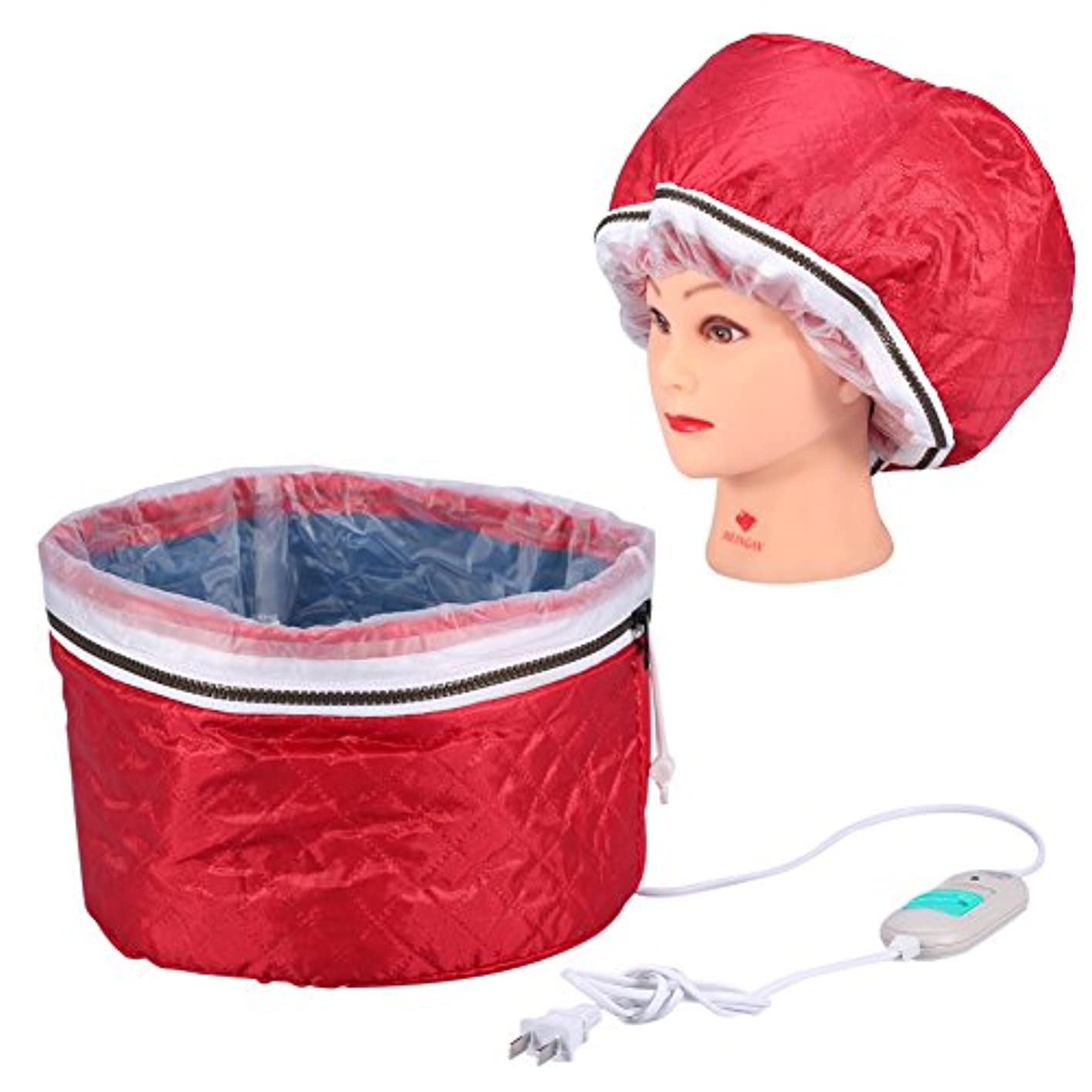自分自身汚い西ヘアスチーマーキャップ加熱キャップ温度制御過熱保護電気スチーマーヘアマスクキャップ220ボルト