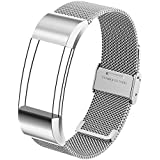 For Fitbit Charge 2 Band, Homar Milanese Stainless Steel Replacement Metal Accessories Wristbands Strap Bracelet with Adjustable Buckle Small and Large Band for Men and Women