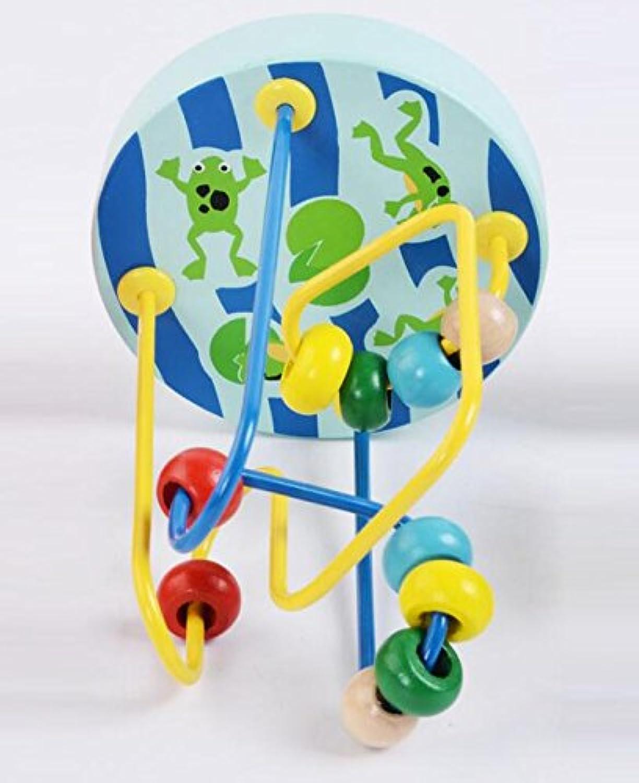 HuaQingPiJu-JP ミニ木製のカラフルなアバカスサークルのおもちゃの教育的なビーズの迷路子供のためのクリエイティブギフト(ブルー)