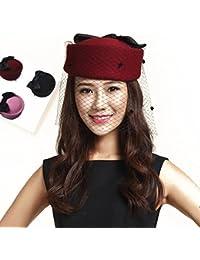 【ノーブランド品】ロングチュールトーク帽(厚さのあるタイプ)礼装帽子カクテル帽 トークハット ヘッドドレス
