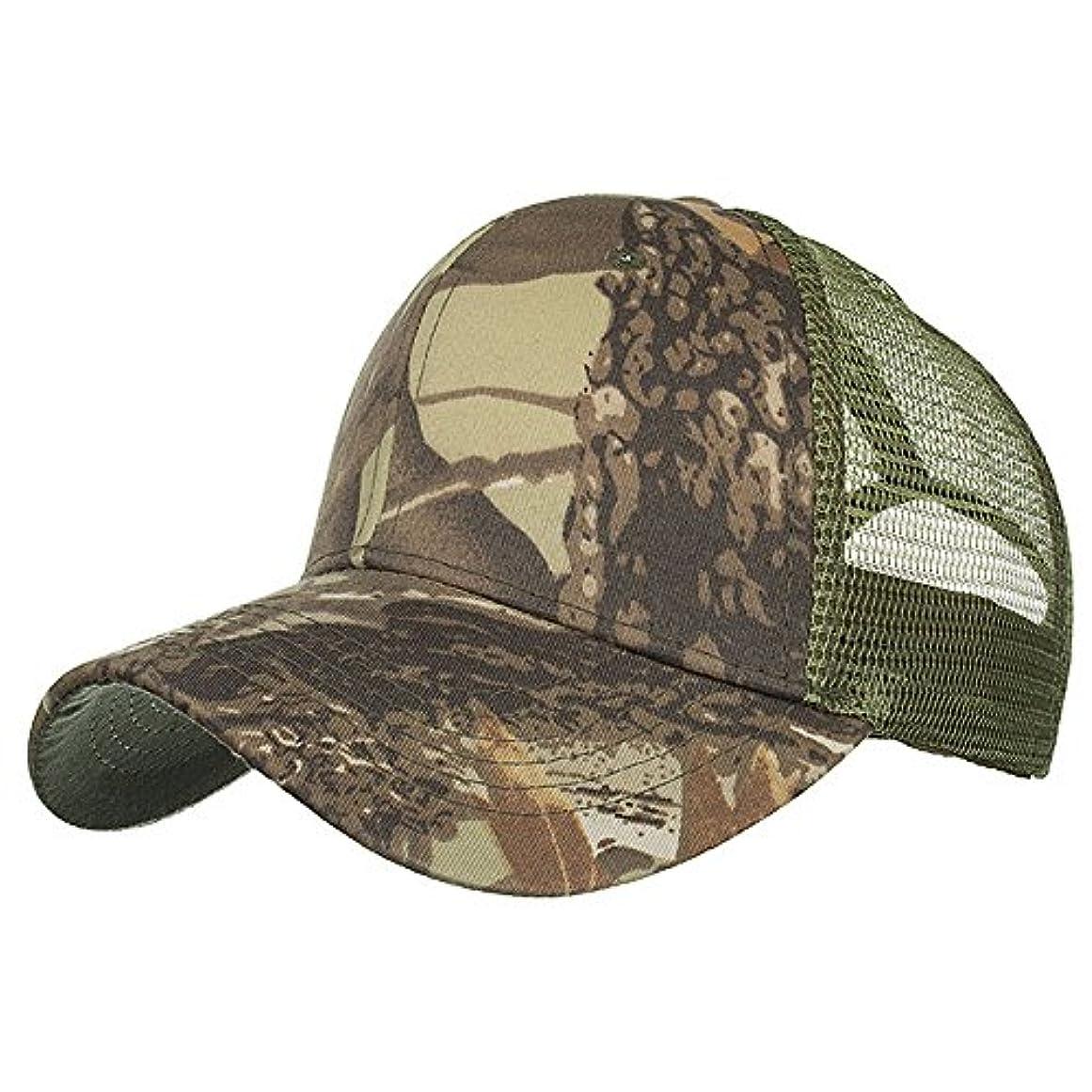 Racazing Cap 迷彩 野球帽 メッシュステッチ 通気性のある 帽子 夏 登山 可調整可能 刺繍 棒球帽 UV 帽子 軽量 屋外 Unisex Hat (C)