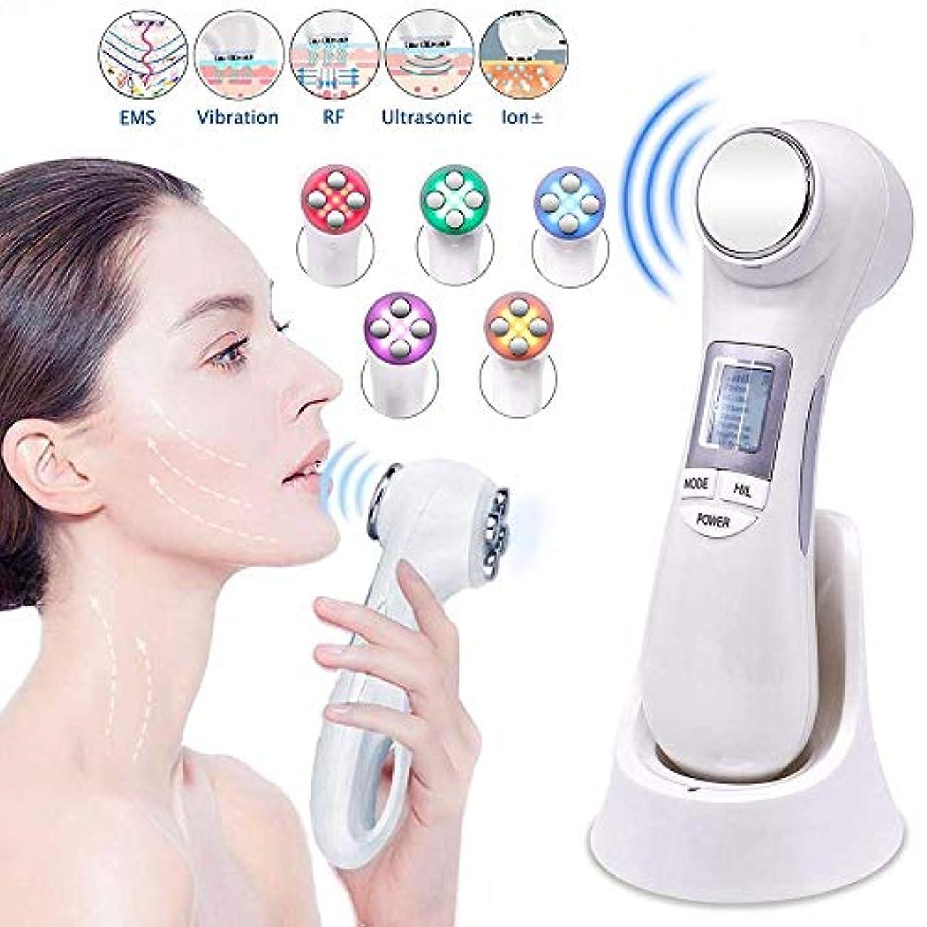 エッセイ上昇まだスキンケアのための5つの色LEDライト療法が付いている1つの高い出現の顔の持ち上がる機械EMS RFメッセージに付き機械6つをきつく締めること