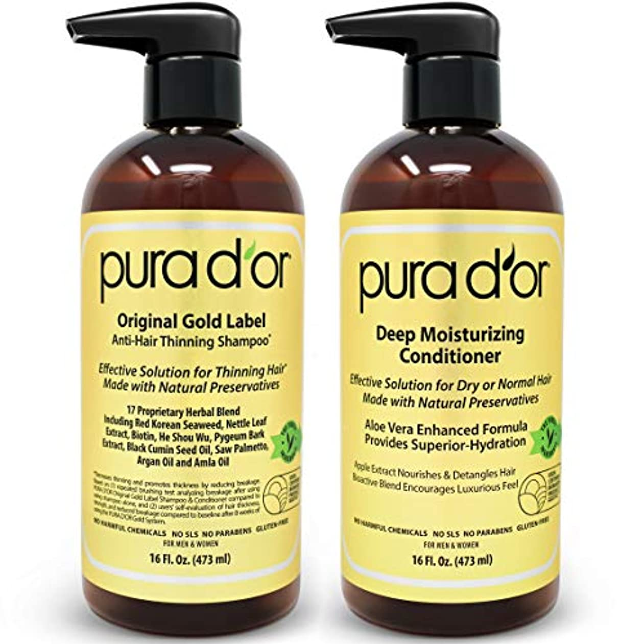 PURA D'OR オリジナル ゴールド ラベル 薄毛予防用 -臨床実験済み -アルガンオイル、ビオチン、天然原料、硫酸系化合物不使用、全髪タイプに、男性&女性用(パッケージは異なる場合があります) シャンプー&コンディショナー