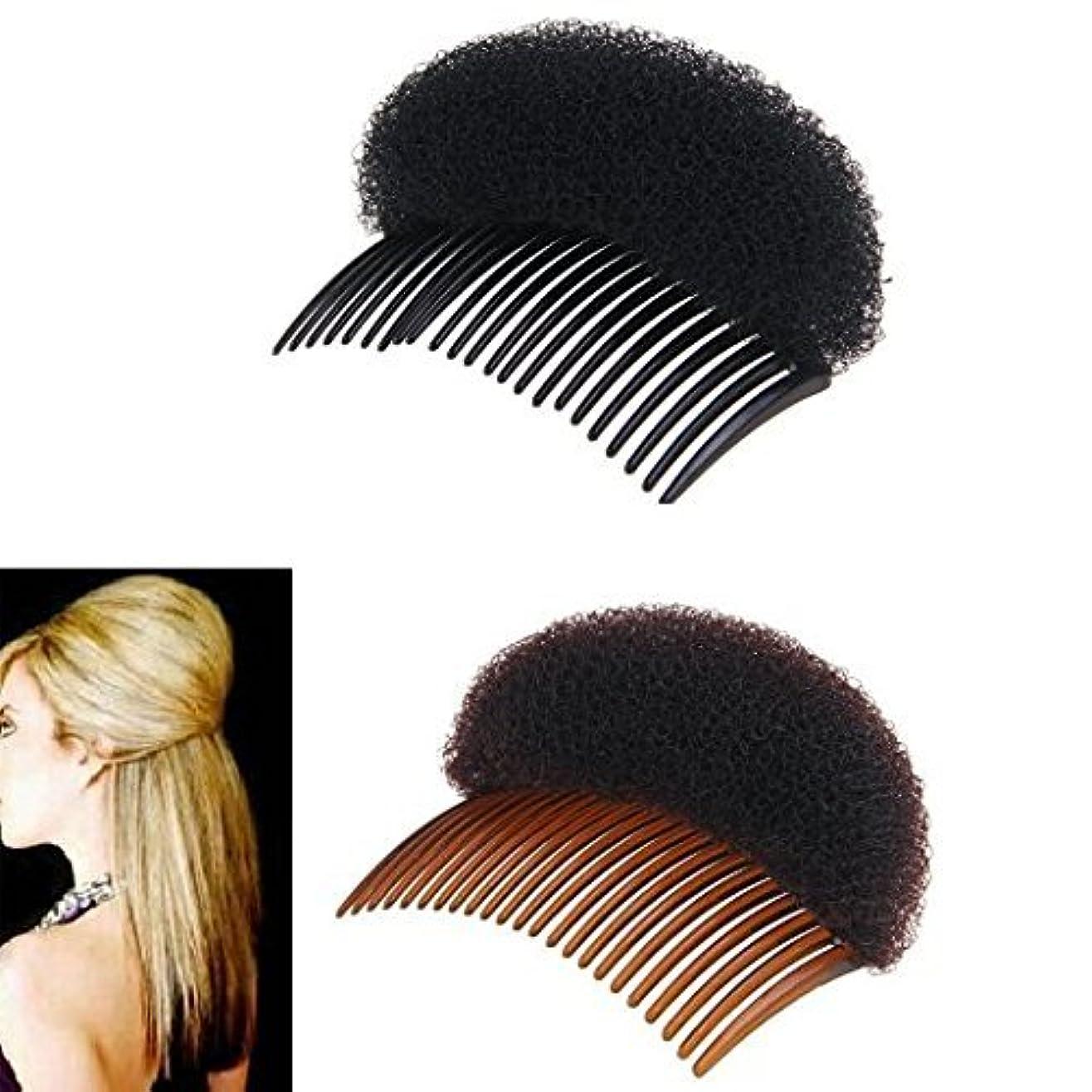 宝パッド階層2Pices(1Black+1Brown) Women Bump It Up Volume Hair Base Styling Clip Stick Bum Maker Braid Insert Tool Do Beehive...
