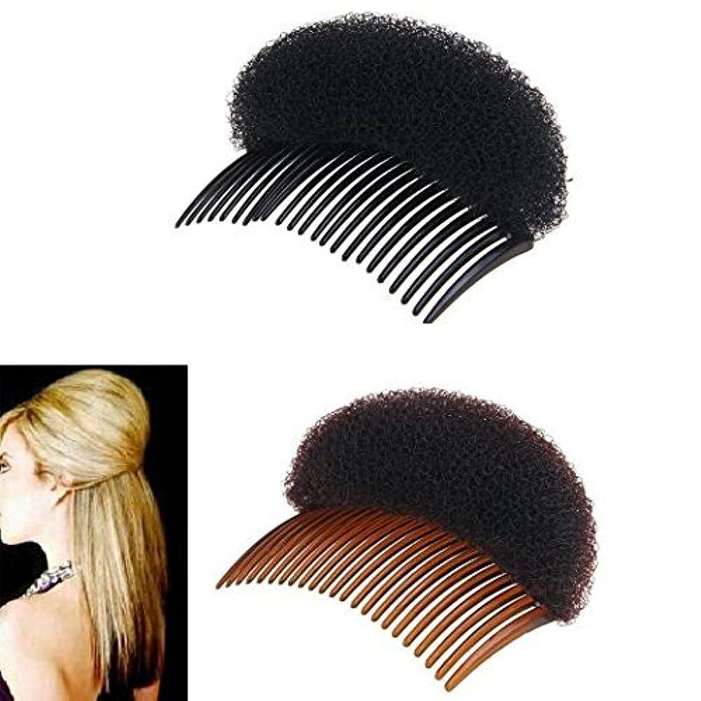 主要なギネス下に向けます2Pices(1Black+1Brown) Women Bump It Up Volume Hair Base Styling Clip Stick Bum Maker Braid Insert Tool Do Beehive...