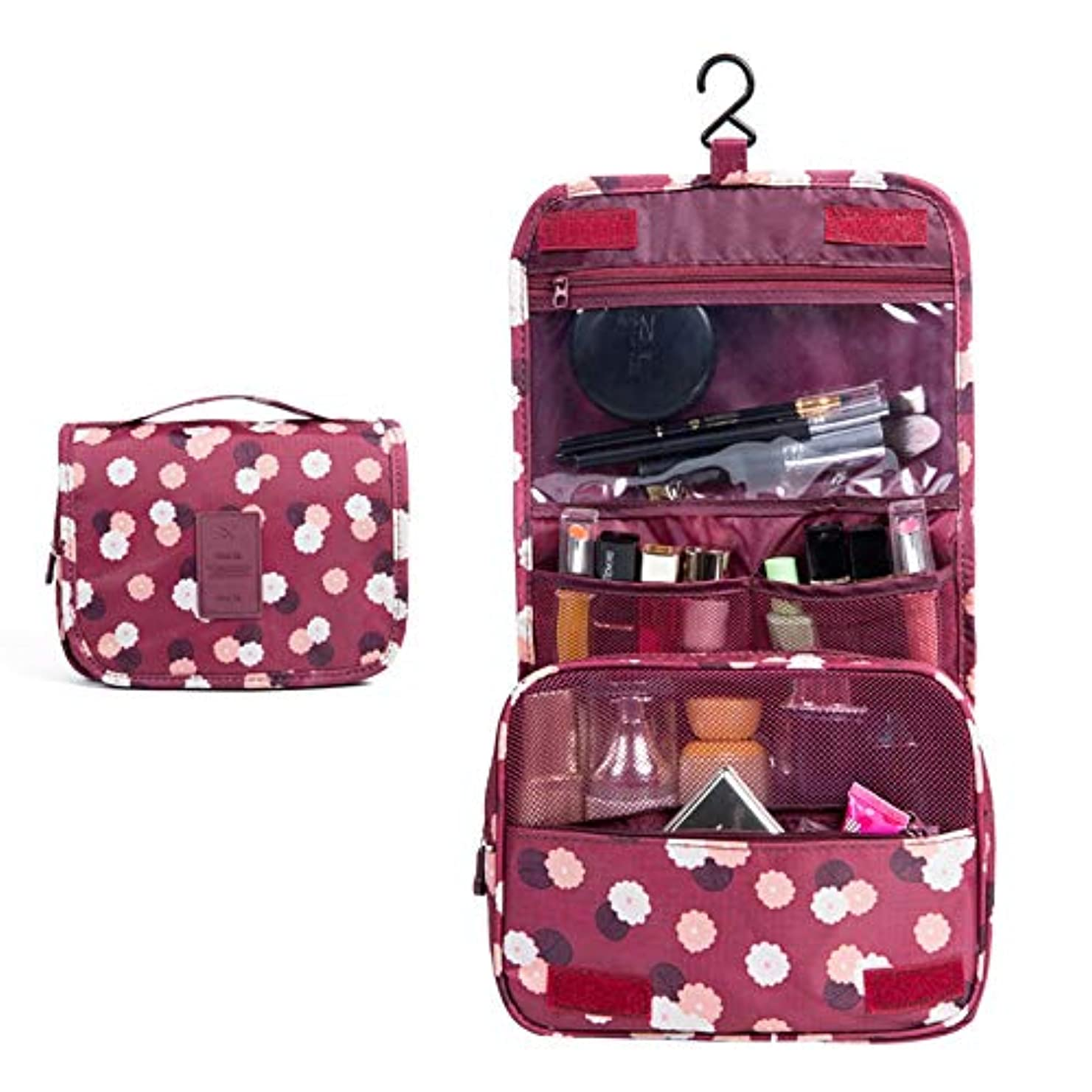 起きてバウンスシチリア化粧オーガナイザーバッグ ポータブル旅行折りたたみフックオーガナイザーバッグトイレタリーバッグを作る化粧品バッグブルーフラワー 化粧品ケース (色 : 赤)