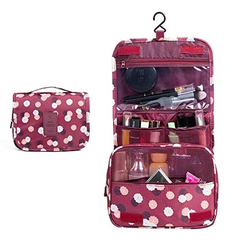 持参練習したパワーセル化粧オーガナイザーバッグ ポータブル旅行折りたたみフックオーガナイザーバッグトイレタリーバッグを作る化粧品バッグブルーフラワー 化粧品ケース (色 : 赤)