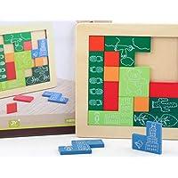 幼児期のゲーム 高品質の木製のカラフルなパズルアーリーラーニング番号の形の色の動物のおもちゃ子供のための素晴らしいギフト(形)