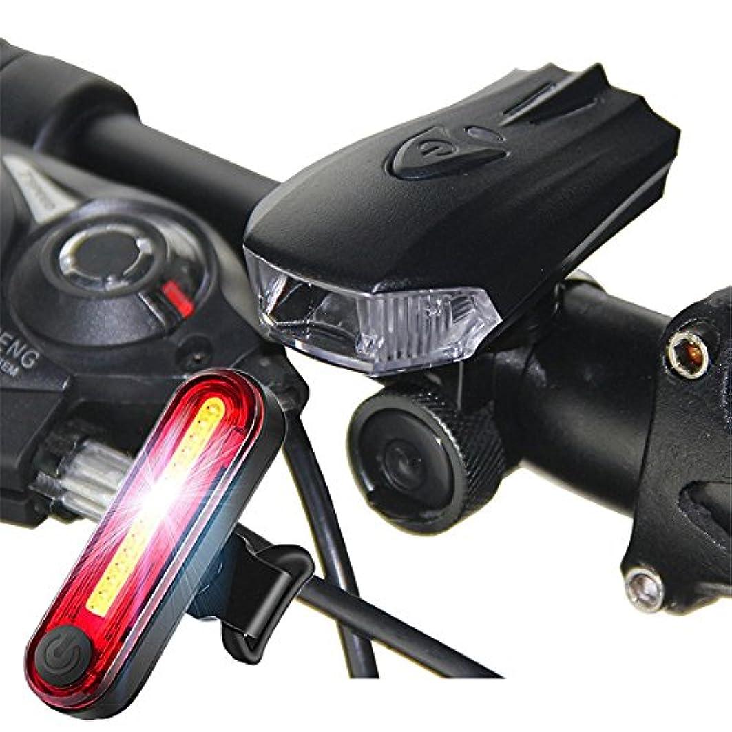 について辞書殺す充電式自転車ライト 夜乗馬マウンテンUSB充電自転車フロントランプ - LED自転車ライト1フロントヘッドライトと1テールライト超明るい自転車ヘッドライト