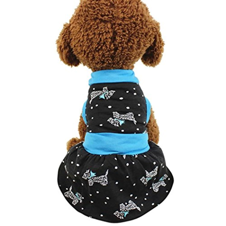 プリントアパレル子犬ベストドレス、ooeoo小さい犬ペット猫キュート夏スカートドットPup服コスチューム S