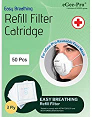 eGeePro Easy Breathing Disposable 3-Ply Refill Filters (50 Pcs) for eGeePro Reusable Face MASK (Model No. 9501