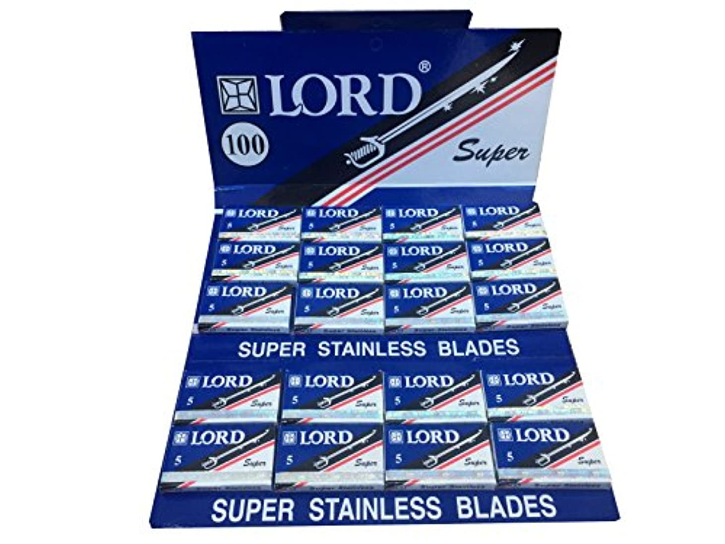 Lord Super Stainless 両刃替刃 100枚入り(5枚入り20 個セット)【並行輸入品】