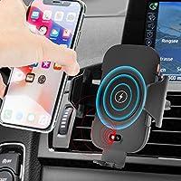 QI ワイヤレス充電器 車載ホルダー スマホ 赤外線センサーによる自動開閉 充電ホルダー エアコン吹出し口用 Iphone 8/8 Plus/X Galaxy Note 8/S8/S8+/S7/S6 Edge+/Note 5 Nexu5/6 等に対応 (ブラック03)