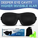 3D Sleep Eye Mask AMAZKER Ultra Invisible Nose Alar Shade Contoured Soft Eye Cover Soft Comfortable Mask for Full Night's Comfortable Sleep Ultimate Sleeping Aid, Blindfold, Eyeshade, Eyepatch, Blocks Light (Black)