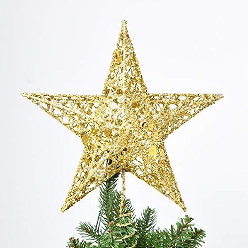 テセウス四牛Labos かわいい輝く鉄スタークリスマスツリーの最上部の飾り、サイズ:30センチメートルのx 25センチメートル、ランダム配信
