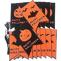 ハロウィン フラッグ バナー コウモリ パンプキン 2種 セット 装飾 不織布 旗 計 400 ㎝ (蝙蝠 & かぼちゃ 旗)