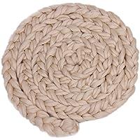 【ノーブランド品】 新生児 ベビーシャワー 出産祝い 写真 小道具 ロービング 編み込み ウールスピニング ラグ 毛布 敷物 全9色 - ベージュ