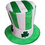 Funpa ボウラー 帽子 聖パトリックの日 緑の日 ストライプ クローバー パターン グリーン 布 仮装 仮面 コスプレ パーティー 写真撮る 演出 ファッション