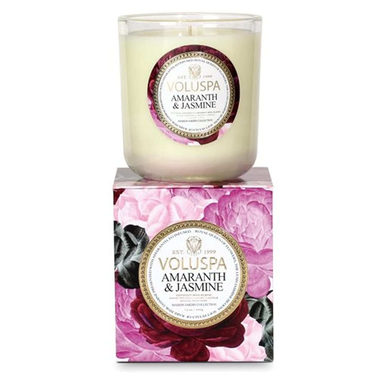 チラチラするスポンサー製油所Voluspa ボルスパ メゾンジャルダン ボックス入りグラスキャンドル アマランス&ジャスミン MAISON JARDIN Box Glass Candle AMARANTH & JASMINE