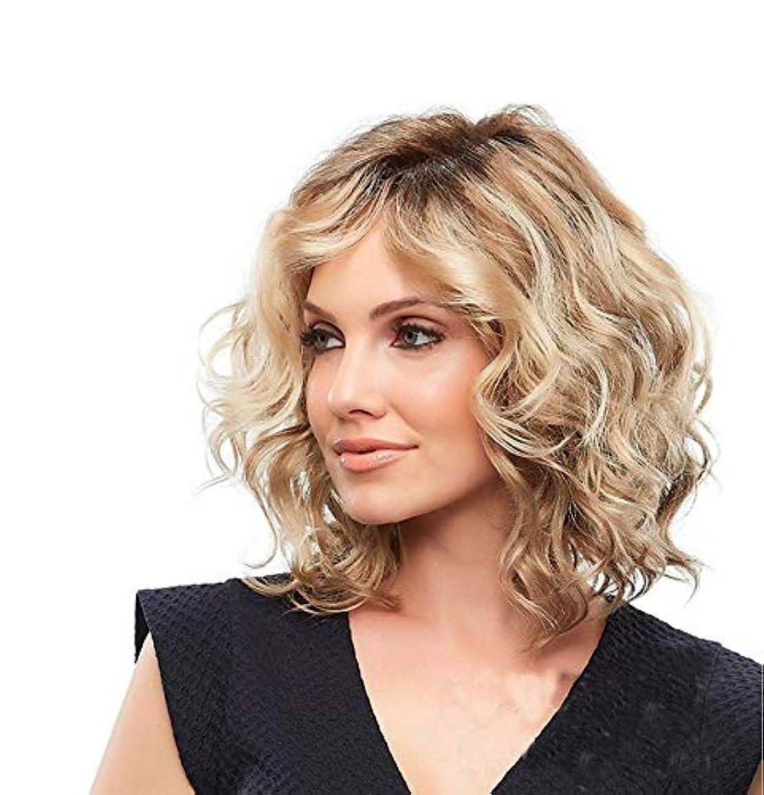 写真の脊椎フロントYOUQIU 女子合成ショートカーリーヘアナチュラルふわふわ金髪ウィッグサイド別れかつら (色 : Blonde)