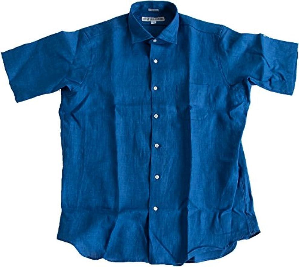 植生岸請負業者サイズ 15H BLUE (ID-3518) WOODY別注 INDIVIDUALIZED SHIRTS (インディビジュアライズドシャツ) リネンレギュラーカラー半袖シャツ