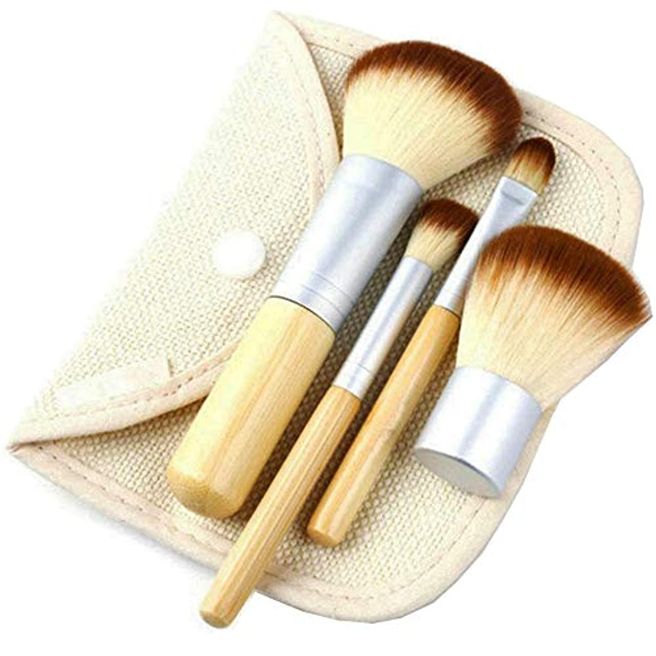 感嘆取る呪いUrban frontier メイクブラシ 化粧筆 竹製 4本セット 化粧ポーチ付き 携帯便利 メイク道具 プレゼント