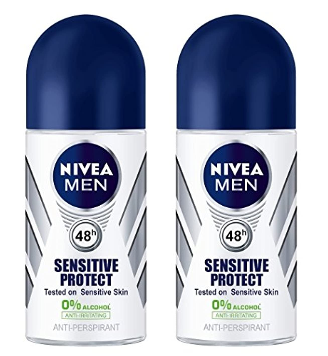 租界放映苦悩(Pack of 2) Nivea Sensitive Protect Anti-perspirant Deodorant Roll On for Men 50ml - (2パック) ニベア敏感な保護する制汗剤デオドラントロールオン...