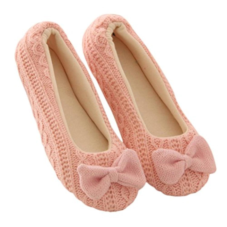 sukeqレディースかわいい蝶結びニットコットンパッドインドアスリッパ柔らかいアウトソールフラット滑り止めSlip On House Slippersヨガ靴