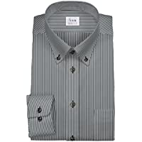 ワイシャツ 軽井沢シャツ [A10KZB081]ボタンダウン (ショートポイント) 純綿 ブラックストライプ 茶色ボタン らくらくオーダー受注生産商品