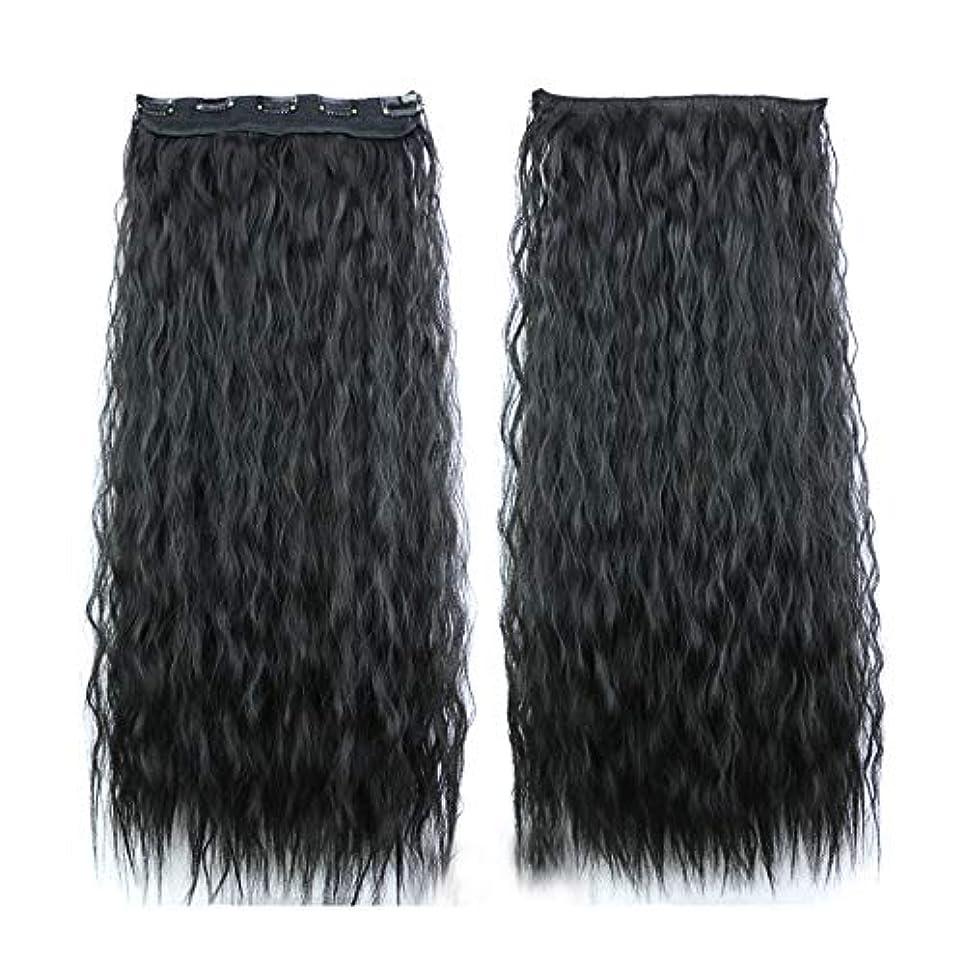 Lazayyii 女性 かつら ストレートヘ シームレスパッチ 波状長い巻き毛パーティーコスプレ (ブラック)
