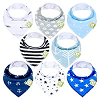 KeaBabies Baby Bandana Drool Bibs For Boys - Super Absorbent Bandana Bibs - Baby Drool Bib - Teething Bibs - Handkerchief Bibs For Infant, Toddler - 8-Pack Bib Set - Bib Boy (Adventurer)