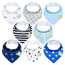 KeaBabies Baby Bandana Drool Bibs For Boys - Super Absorbent Bandana Bibs - Baby Drool Bib - Teething Bibs - Handkerchief Bibs For Infant, Toddler - 8-Pack Bib Set - Bib Boy (Adventurer)