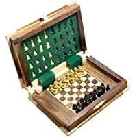 Book Shape Wooden Folding Chess Board and Magnetic Pieces Travel Games, Set