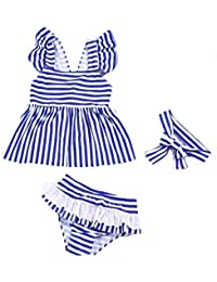 Cyc女児水着 子供 ワンピース水着 ストライプ式 キッズビーチみずぎ ビキニセット スカート+下着+ヘッドバンド付き