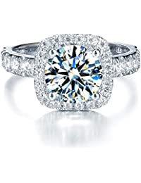 Cushion Cut Petite Micropave Floating Halo Simulated Diamond CZ Engagement Rings Women's Solid Sterling Silver Simulation Brilliant Square Diamond Adjustable Ring with Side Stones