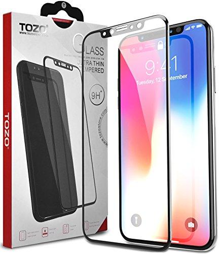TOZO iPhone X フィルム iPhone 10 / X用 強化ガラス液晶保護フィルム フルカバー ラウンド対応 3D構造[ブラック]