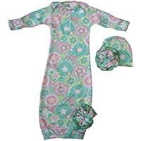 Woombie Indian Cotton Gowns Plus Hat, Spring Fling, 16-23 Lbs by Woombie