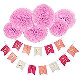 誕生日パーティーの装飾、Wartoon Happy Birthday 紙ンズ花の吊りパーティーバナーデーの装飾 - ピンク